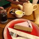 A slice of lavender cheesecake🧀 to go with a pot of tea🍶 #lamarellecafé .