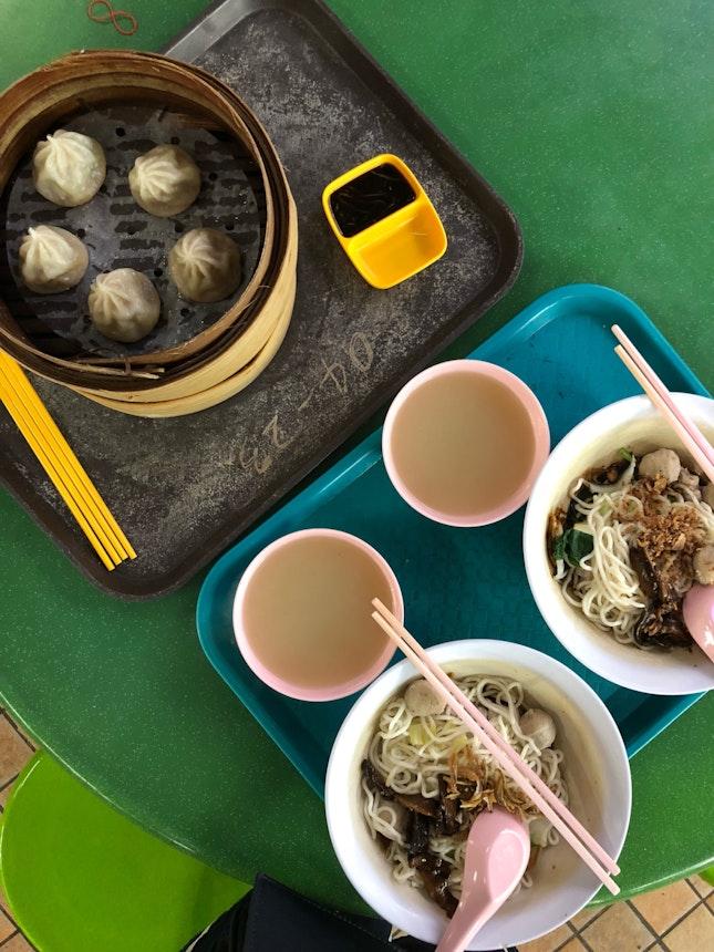 Dry Ban Mian ($4.50), Xiao Long Bao ($7.50)