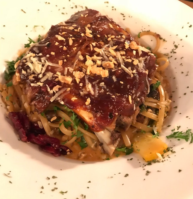 Spaghetti & a slab of ribs