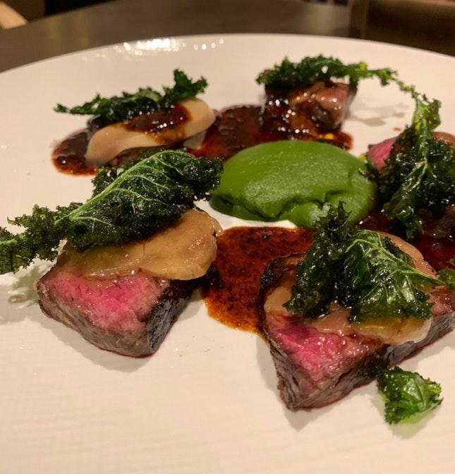 Grass Fed Beef Tenderloin, Foie Gras, Kale & Truffle Jus