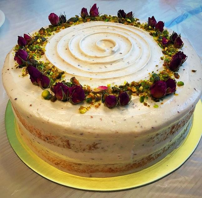 Rose pistachio lavender cake