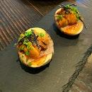 Smoked Egg, Wagyu, Uni