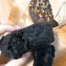 Black Brownie with Rum Raisin