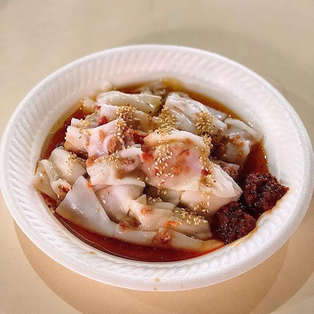 [Pek Kio] Steamed Rice Rolls freshly made on order, this one filled with Char Siew ($3).