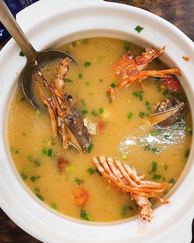 [Khatib] Hearty Teochew-style Lobster Porridge (essentially rice in soup).