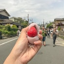 🍓: Ichigo Daifuku (¥250/ $3.05) Strawberry sandwiched between 2 sides of a mochi with red bean paste smothered within 🤤 — #japan #visitjapan #visitjapanjp #explorejapan #kyotojapan #japanfood #japansnack #ichigo #ichigodaifuku #ichigodaifukumochi #strawberry #mochi #strawberrymochi #buzzfeast#arashiyamabambooforest #foodstagram #instafood #sgfoodie #sginsta #melmeleats #burpple #openrice #whati8today #melmeleatsinjapan