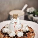 Smores Waffle With Chrysanthemum Gelato