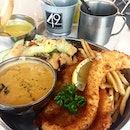 Old fashion fish and chips with tom yum dip.