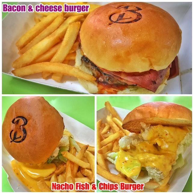 Review on 1) bacon & cheese burger ($6.50) and 2) nacho fish & chips burger ($5.90)