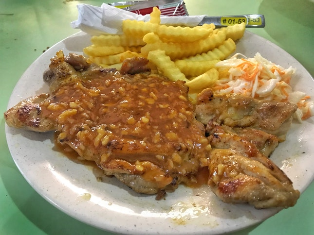 Review on Chicken Chop with signature garlic sauce ($6)