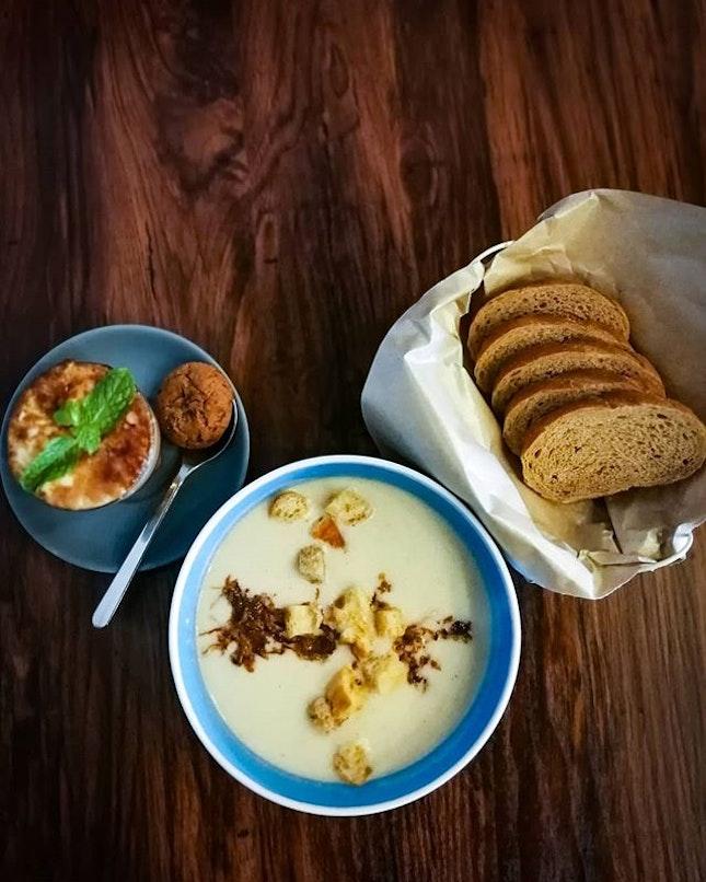 Cauliflower Potato Chowder with the bread of yoir choice.