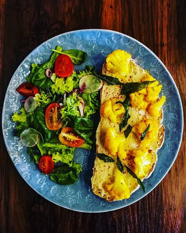 Hummus with Curry Cauliflower Tartine...