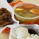 Salted Vegetable Soup With Chicken Wings