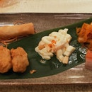 Lobster Salad, Chilled Jellyfish In XO Sauce, Roasted Crispy Pork Cube, Deep-Fried Spring Roll & Deep-Fried Crab Meat Ball