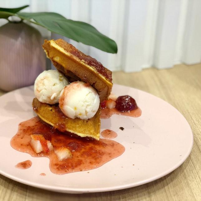Strawberry Waffles with Honey Citrus Ice Cream