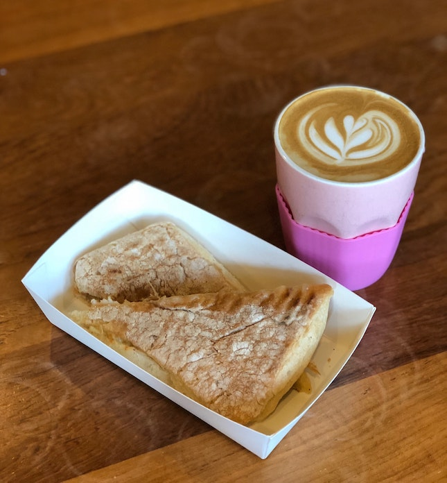 Breakfast Set: Chicken & Cheese Panini + Latte ($10)