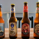 From left to right: Lervig Lucky Jack, Hofbräu München Original, Matso's Lychee Beer, and Matso's Hit the Toad