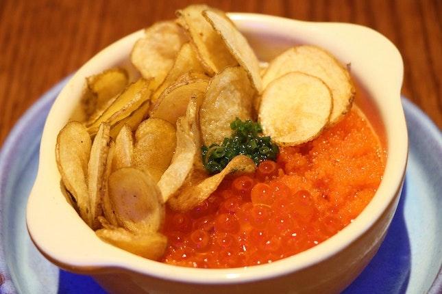 The Egg, $9 (Ikura, Potato Chips, Chives, Beurre Noisette)