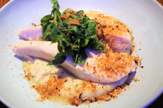 Chicken Breast, $14.90 (Truffle Mousseline, Sautéed Organic Watercress, Chicken Floss)