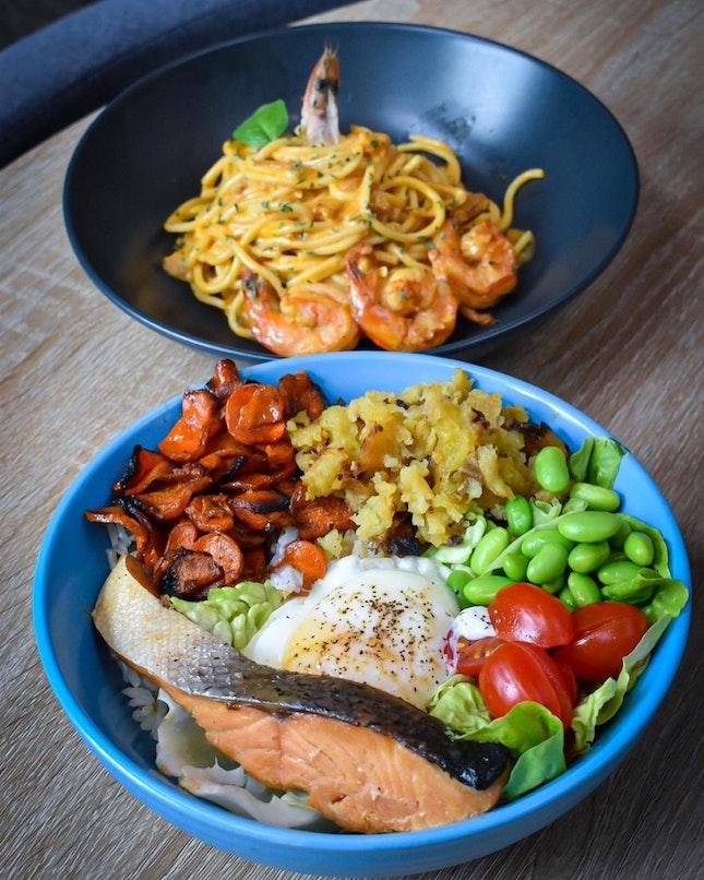 Salmon Grain Bowl Vs Tom Yum Seafood Pasta