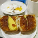 Toast bun from stall Coffee, tea and toast at Marsiling Mall Hawker Centre.