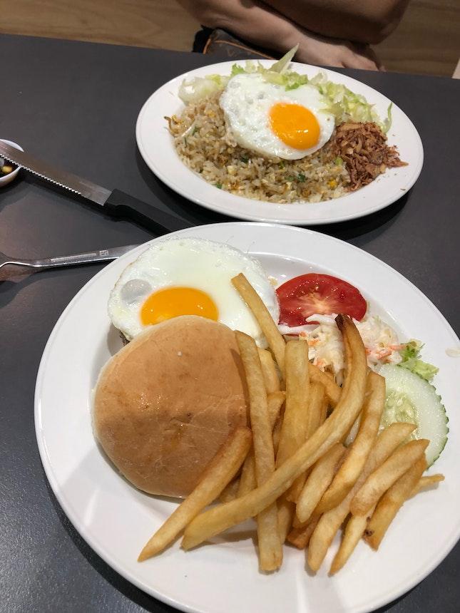 Burger and Fried Rice at Hans