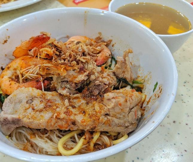 Prawn And Pork Rib Dried Noodles ($5.50)
