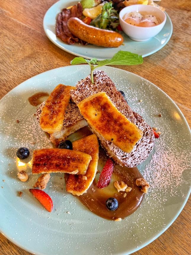 sated caramel banana brioche french toast ($15)