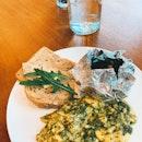Green Scramble With Baked Portobello