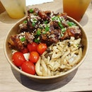 Roasted Sesame Chicken Bowl 😊😊 + Chilli Crab Fries 😊 + Truffle Fries 😊 + a variety of cakes 😊  This affordable place is a gem!