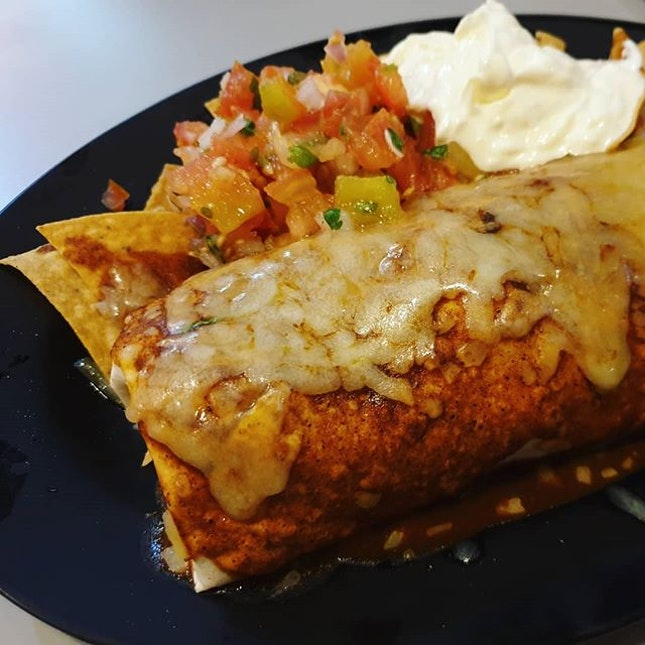 Baja Chicken Burrito ($12.95++) in Enchilado Style ($3.45++) 😐: This is okay if u're around the area and looking for something below $10 with the #hsbcentertainer .