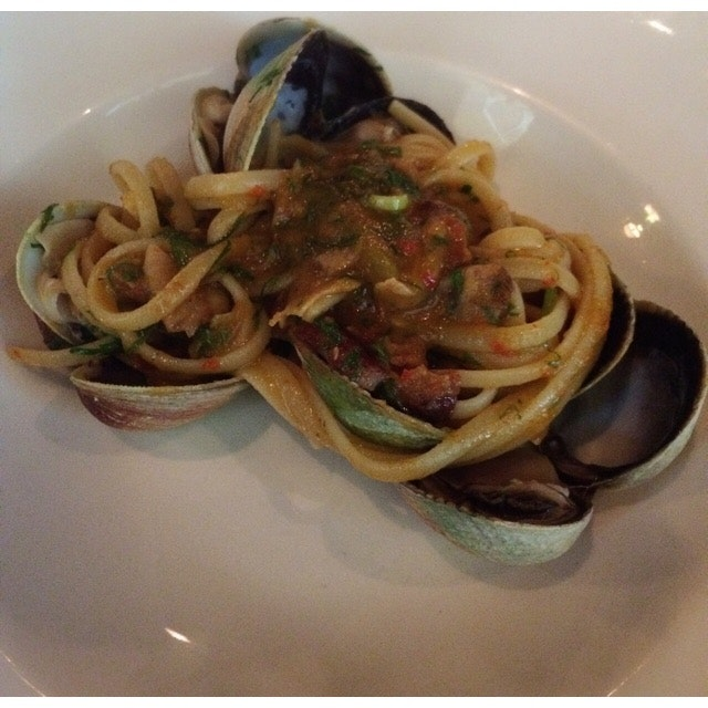 Linguine With Clams, Pancetta & Spicy Chillis