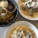 carbonara ~$17++ and curry rice bowl ~$22+