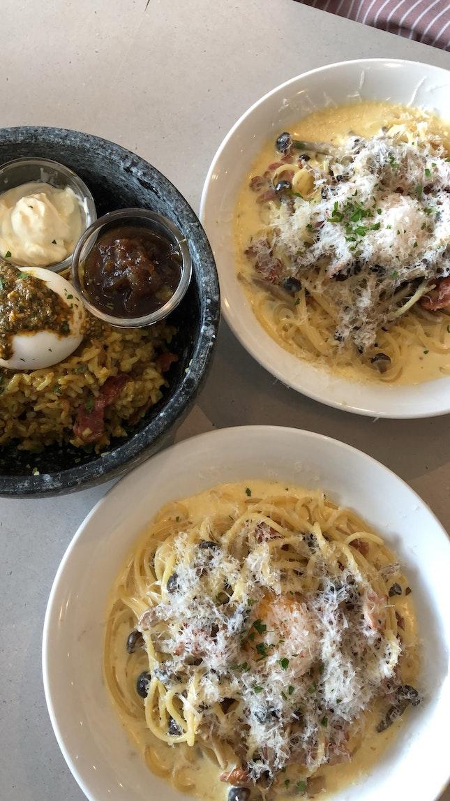 carbonara ~$17++ and curry rice bowl ~$22+