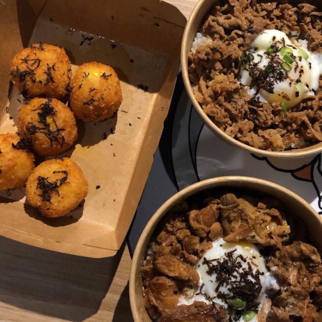 truffle beef rice bowl, truffle chicken rice bowl, truffle mac and cheese balls (around $11 each)
