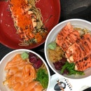 salmon mentai bowl, salmon rice bowl, salmon mentai pasta ~$10 each