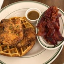 Chicken and Waffles $21++, Candied Bacon $7++