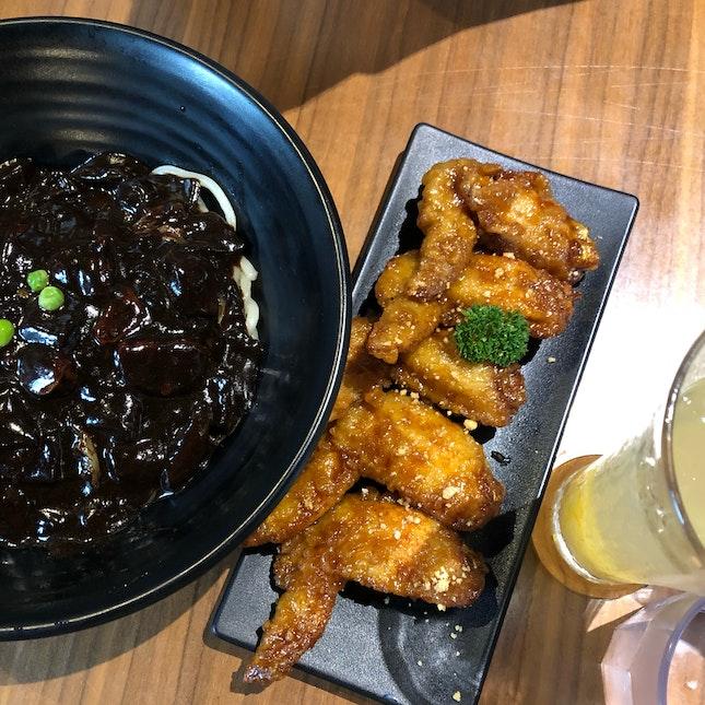 Soy & garlic chicken wings, Jajangmyeon