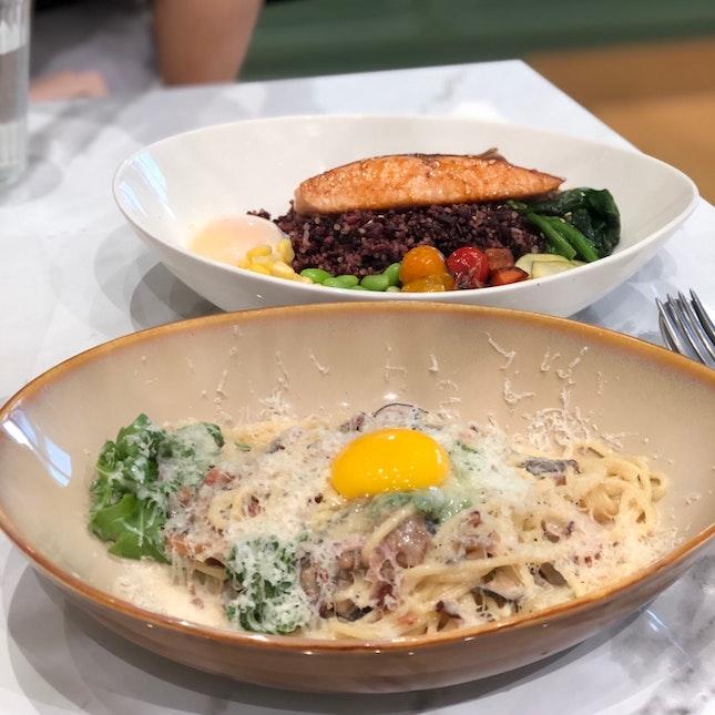 Spaghetti Boscaiola $17.5++, Teriyaki Salmon Bowl $18.5++
