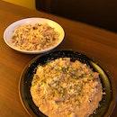 Mushroom Risotto $18.9++, Tagliatelle with Pork Sausage and Mushroom Cream Sauce $19.9++