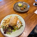 Best Bacon Burger $17, Crab cake with salted egg sauce $11