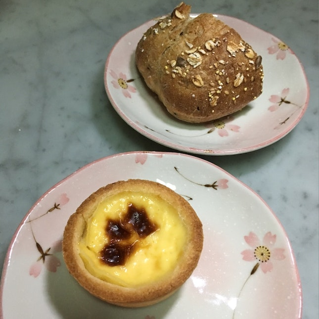 German Egg Tart And Cereal Bread