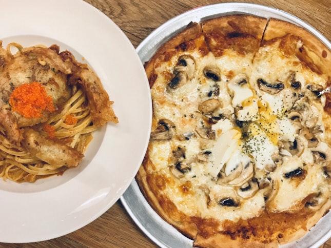 Truffle Mushroom Pizza ($20) & Laksa Pasta