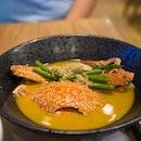 "Golden Broth of Kani Miso | shrimp salsa, fried shallot, spinach ""Ohitashi"" with sesame dressing, Japanese sesame rice"