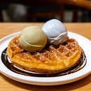 Waffles with Blue Milk & Pistachio Ice Cream
