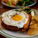 Croque Madame | brioche, smoked ham, bacon, truffle mayo, mozzarella, fried egg