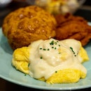 Scrambled Eggs with Bolo Bun, Cheese and Chicken Chop