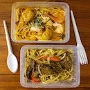 Laksa Prawn Spaghetti & Striploin Slice Stragonoff Linguine