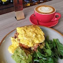 Today's Brunch at Craftsman Specialty Coffee Three Tier ($18)  Consists of Shaved ham, cheddar, mozzarella cheese, fresh avocado, scrambled eggs on brioche and spinach salad on side.