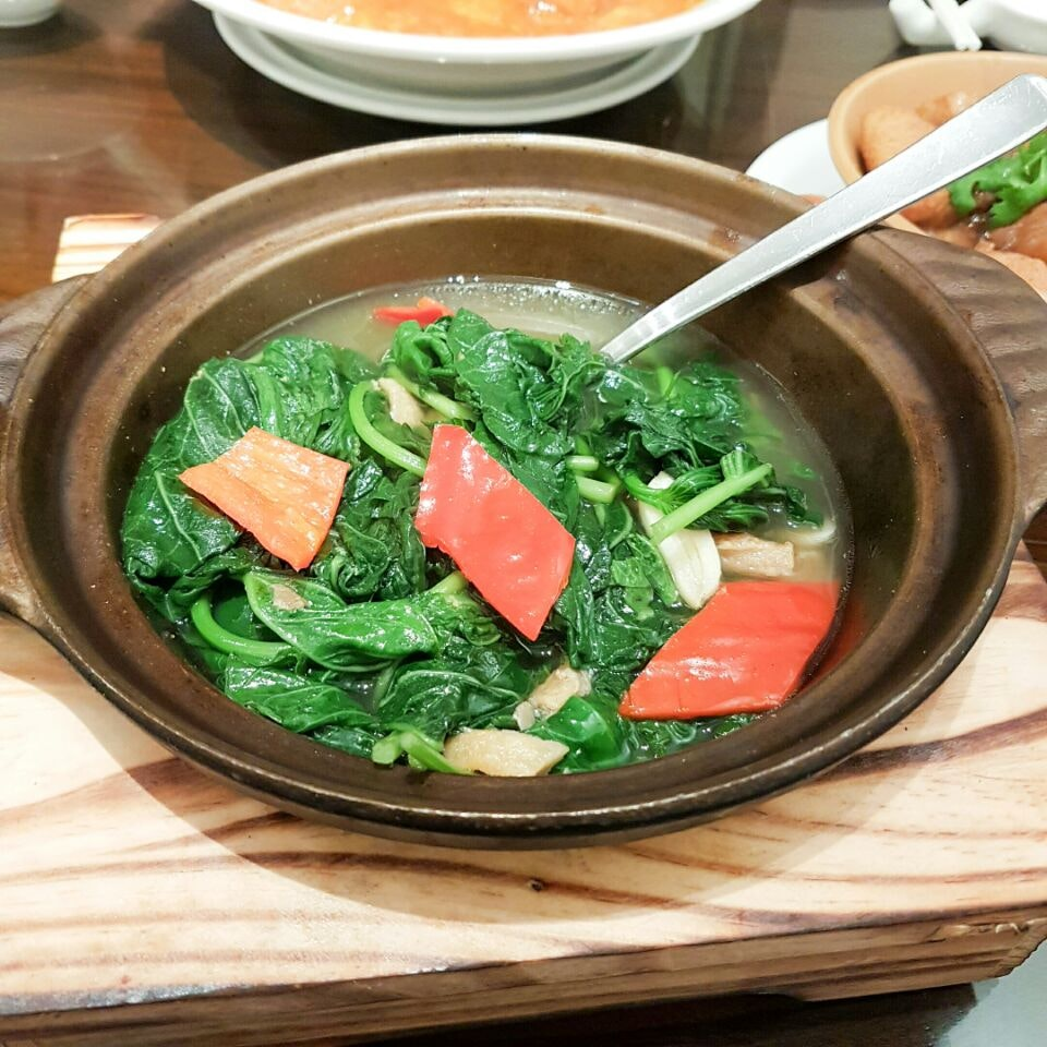 Claypot Sweet Potato Leaves with Mui Hong Salted Fish